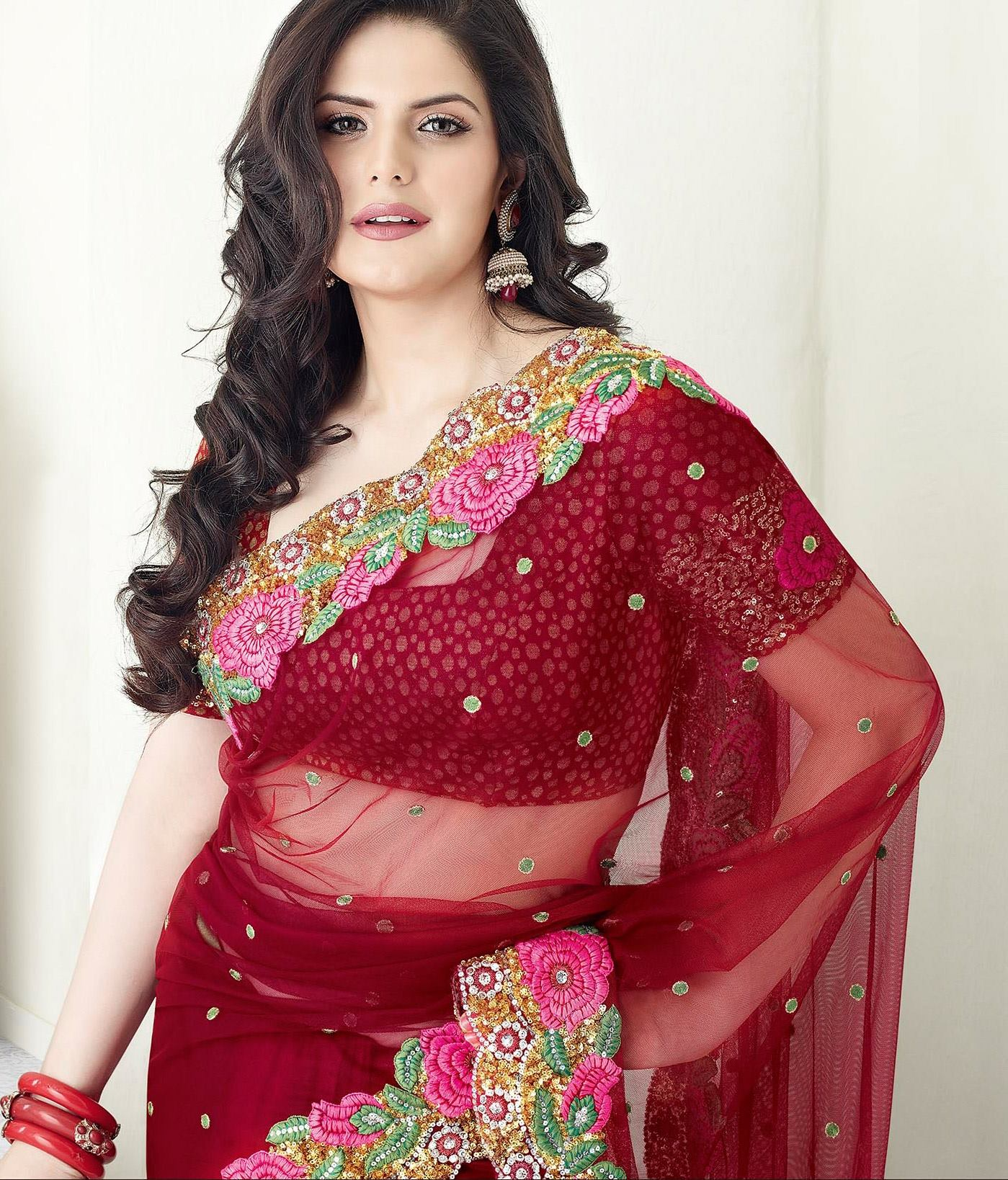 Punjabi actress Zarine khan wallpaper in saree
